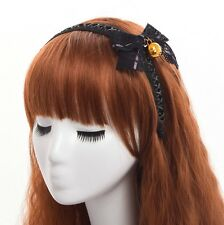 1pc Lolita Girls Lace Bowknot Bell Black Lace-UP Hair Band Gothic Punk Headwear