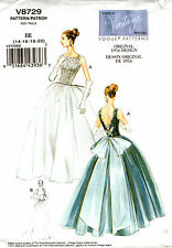 Vogue Sewing Pattern V8729 8729 Dress 1956 Vintage Reproduction 6-12 14-20 NEW