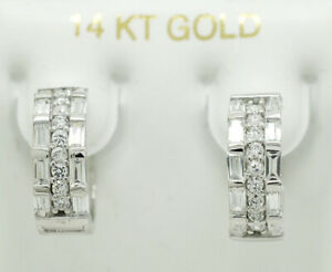 WHITE SAPPHIRES HUGGIE EARRINGS 14K WHITE GOLD * Made in USA * New With Tag *