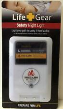 Life Gear White Safety Night Light Smoke Alarm Activated NEW IN PACKAGE