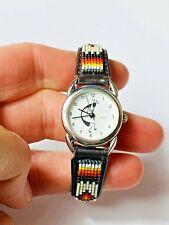 Aztec Kokopelli Tribal Design Quartz Cow Skin Seed Bead Unisex Wrist Watch