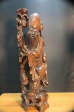 "Large & Old Chinese Hand Carved Wooden Statue Figure 24"" H."