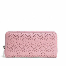 $268 NWT Coach TAYLOR EYELET LEATHER ACCORDION ZIP Wallet 50673 Silver/PinkTulle