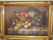 OIL PAINTING Canvas  FRAMED Painting M AARON Fruit Bowl Still Life Art