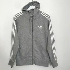 Adidas Zip Up Hoodie Retro Grey Sweatshirt Men's Small