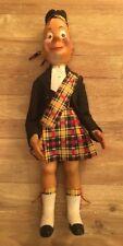 "Vintage Molded Soft Plastic Vinyl Scottish Kilted Tartan Doll 29"" Clan Sinclair"