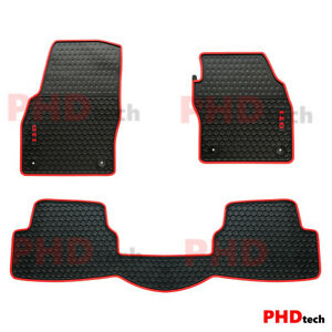 All Weather Rubber Car Floor Mats fit Polo GTI 2017-2021 Current Generation Red