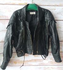 Vintage 80s black leather patchwork biker tassle jacket M L