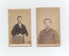 two 1870s CDV photos of Pennsylvania men New Holland Indiana Clark P S Schlauch