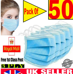 50 Face Mask Surgical Disposable Mouth Guard Cover Face Masks Respiration UK