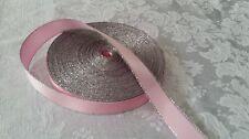 Ribbon PINK SATIN Metallic Edge 5/8 x 10yd NEW craft,gift box,wedding bow/favors