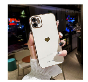 Love Heart Plating Shockproof Soft Silicone Case For iphone 12 Pro Max XS XR 11