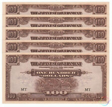 MALAYA 100 Dollars X 5 PCS, MT, Japanese Government WWII, 1944, P-M8a, WTM, UNC