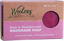 100% Natural Handmade Bar Soap, Woolzies, 4 oz bar 1 pack Rose & Sandalwood