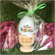 Personalised Wooden Engraved Easter Egg Cup Holder with Kinder Egg Gift Present