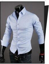 Luxury Shirts Mens Casual Formal Slim Fit Shirt Top S M L XL XXL Ps01 Sky Blue Tag Sizel(us S)