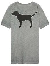 Victorias Secret PINK Shirt Gray Campus Tee DOG Logo Short Sleeve S Small NEW