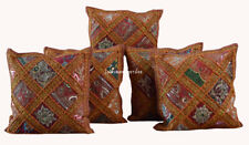 "Indian Cotton Handmade Set-5 Ethnic Zari Work Bohemian 16"" Square Cushion Cover"