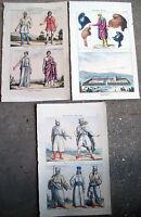 1830 TRE SPLENDIDE INCISIONI ORIGINALI CON ANTICHI ABITANTI DI BABILONIA TROJANI