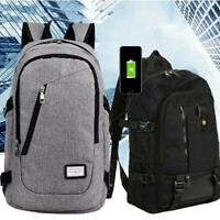 Anti-theft Unisex USB Charging Backpack Laptop Notebook Travel Hiking School Bag