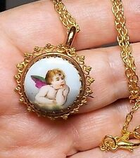 Antique Porcelain Cherub Hand Painted Brooch Necklace Victorian Putti Wings OOAK