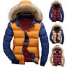 Men's Duck Down Coat Quilted Padded Puffer Jacket Faux Fur Hooded Bubble Parka