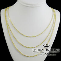 Real 14k Yellow Gold Rope Chain. 16,18,20,22 Inch 1.5mm Solid Necklace Heavy New