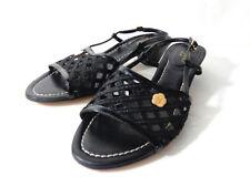 ERIC JAVITS US 10M Black Patent Leather & Woven Medium Heel Slingback Sandals