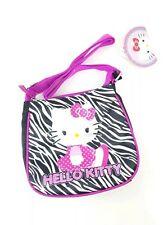 Sanrio HELLO KITTY Small Black CROSSBODY Purse Bag Pouch Cute Zebra Pink Glitter