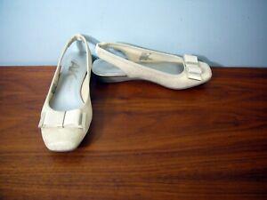 """Shoes ANNE KLEIN AK SPORT Tan Silver 1/2"""" wedge sling back SZ: 6M NWOT Slides"""