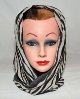 Vintage Black Pale Gray Striped Reversible with Marcasite Triangular Wrap Scarf