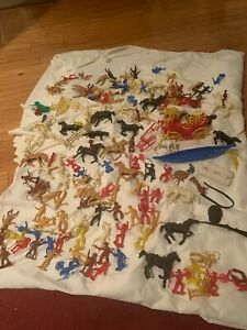 Huge Lot of Vintage MPC 100+ cowboys, Indians, horses, carriage