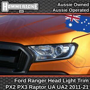 BLACK HEAD LIGHT COVER for Ford Ranger & Everest- XL XLT Wildtrak Raptor 2015-21