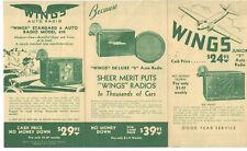 VINTAGE 1930s GOODYEAR WINGS CAR RADIO ADVERTISING BROCHURE! 3 MODELS! & MORE!