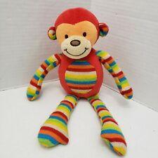 Rare Little Jellycat London Monkey Lovey Animal Plush Red Multi Stripe Baby Toy