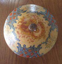 Vintage Cream And Orange Paper Mache Bowl With Lid