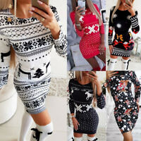 Women Christmas Mini Dress Ladies Long Sleeve Xmas Jumper  Sweater Bodycon