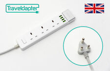 World Wide Travel Adapter SWAZILAND Extension Lead Multi 3 UK Plug 4 USB to 3...