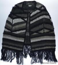 BCBG MAX AZRIA Women's Small/Medium Poncho Sweater Fringed Buckle Closure Cape