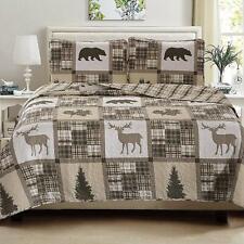 King Quilt Set Moose Bears Bedspread Reversible 3-Piece Bedding w/ Shams