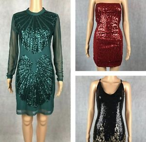 Ladies Sequined Evening Party Cocktail Shift/Bodycon Dress - 8, 10, 12, 14, M