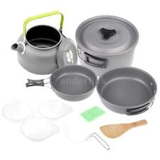 Outdoor Camping Pot Set Cookout Picnic Cookware Teapot Coffee Kettle Set K5H3