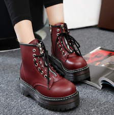 Women Round Toe Lace Up Platform Oxfords Ankle Boots Creepers High Top Shoes Sz