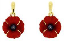 Beautiful Gold & Red Rhinestones Poppy Flower Symbolic Drop Earrings