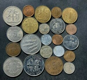 OLD ICELAND COIN LOT - 1940-PRESENT - 22 Low Mintage Coins - Lot #J23