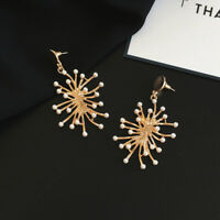 Earrings Nails Golden Chandelier Pearl White Branch Coral Metal DD11