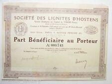 Part Bénéficiaire ancienne : Sté des lignite d'hostens ( 761 )