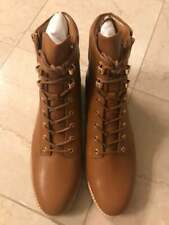 Nwt Michael Kors Brown Tan Rosario Leather Combat Boots Size 10 $199 Value