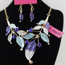 Set Jewelry Pendant Betsey Johnson Enamel Bohemia Charm Leaves Necklace earring