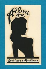 """VINTAGE ORIGINAL 1960 """"ALLURE INC."""" SEXY GLAMOUR GIRL SPEED SHOP WATER DECAL ART"""